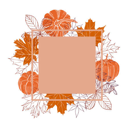 Hand-drawn autumn leaves and pumpkins. Vector illustration.