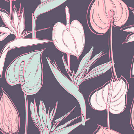 Hand drawn tropical flowers. Vector seamless pattern.