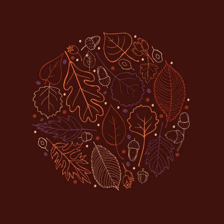 Hand-drawn autumn leaves. Vector illustration.