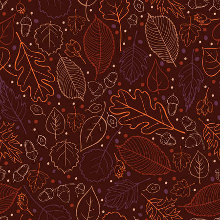 Vector pattern with hand-drawn autumn leaves. Vector illustration.
