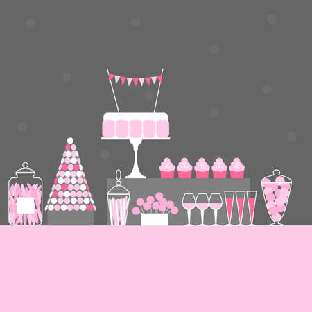 Birthday candy buffet. Wedding sweet bar with cake. Dessert table. Vector illustration.