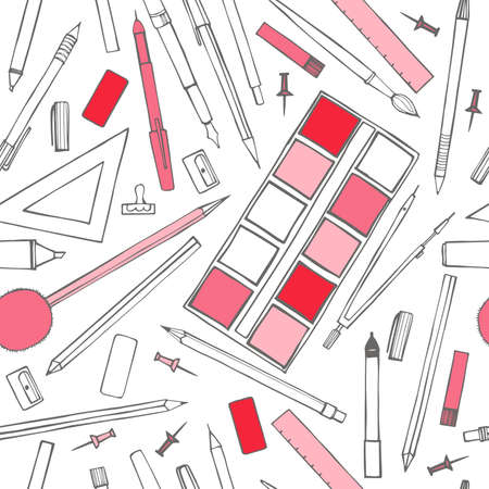 Stationery. Pens, pencils, paints, compasses. Vector seamless pattern