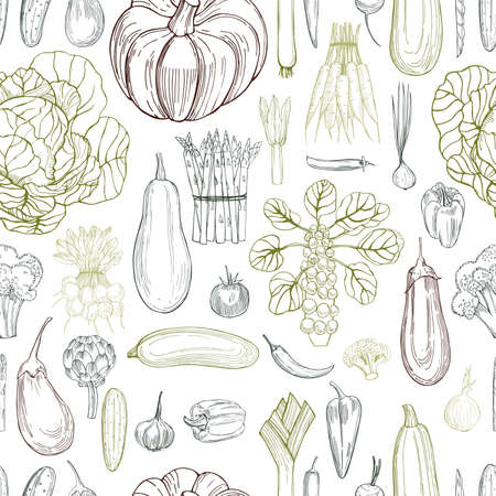 Hand drawn vegetables on white background. Vector seamless pattern