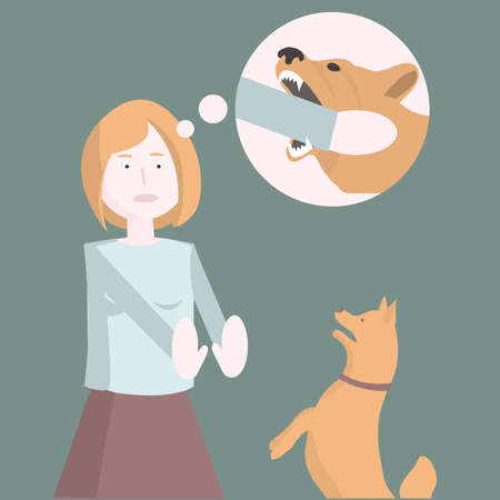 Fear of dogs. The girl is afraid of the dog. Vector illustration. Illustration