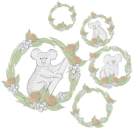 Hand drawn koala in a circle of leaves and flowers of eucalyptus. Vector sketch illustration.