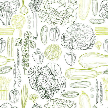 Hand drawn green vegetables on white background. Vector seamless pattern Vetores