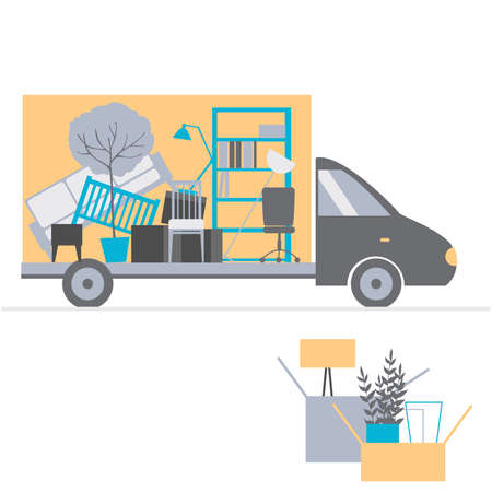 Moving truck and cardboard boxes. Relocation. Vector illustration.