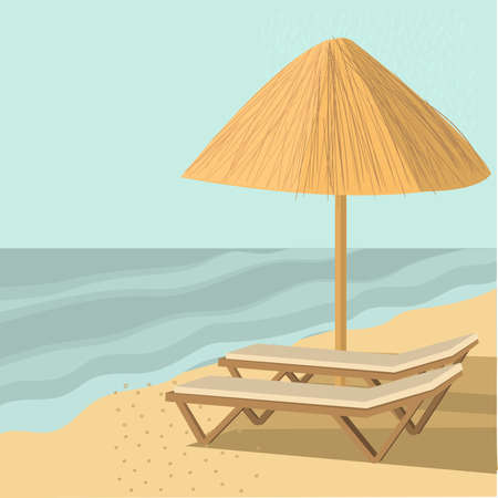 Straw umbrellas and sunbeds. Vector illustration.