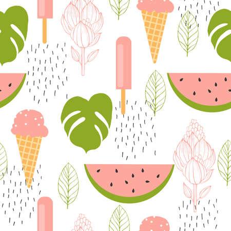 Hello summer Watermelon and ice cream. Vector seamless pattern. 向量圖像