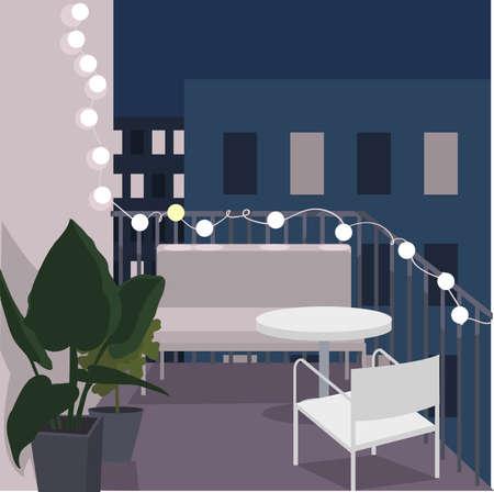 Night balcony with sofa, table and flowers. Vector illustration. Vektorové ilustrace