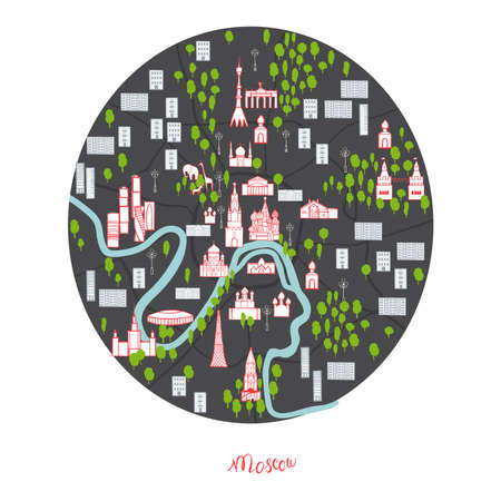 Moscow map. Vector sketch illustration