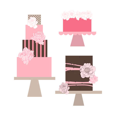 Wedding cakes with peonies. Vector illustration.