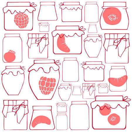 Vector background with hand-drawn jam jars.