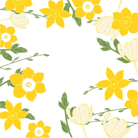 Vector floral background with hand-drawn spring flowers. 向量圖像