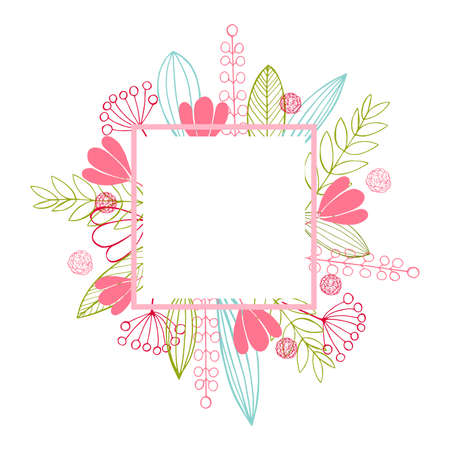 Vector floral frame with hand-drawn leaves and flowers 向量圖像