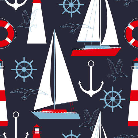 Sea vector seamless pattern with yachts and lighthouses.