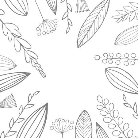 Vector floral background with hand-drawn leaves and flowers 向量圖像