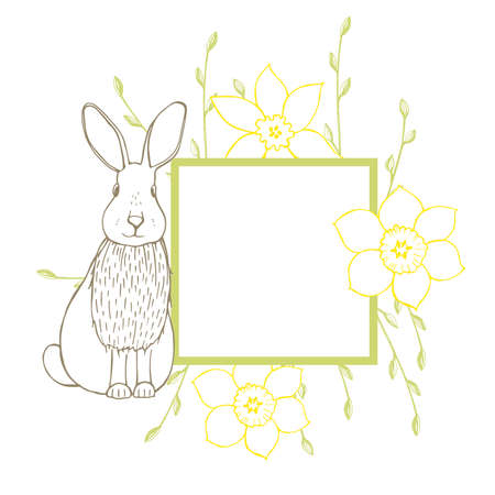 Easter Bunny with flowers. Vector illustration. 向量圖像