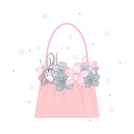 Handbag with orchids. Vector illustration 向量圖像