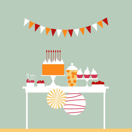 Birthday cake with candles. Sweet buffet. Dessert table. Vector illustration.