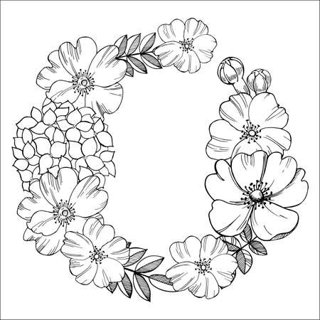 Floral wreath. Black-and-white drawing of flowers.Vector illustration. 向量圖像