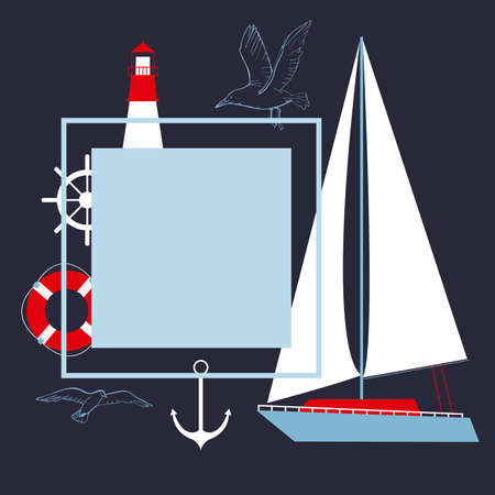 Vector frame with yacht and lighthouse.