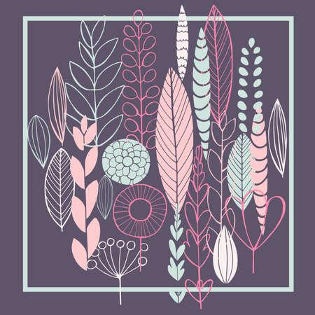 Doodle plants. Vector illustration.
