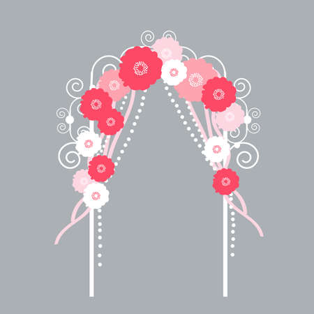 Wedding arch with flowers on gray background. Vector illustration.