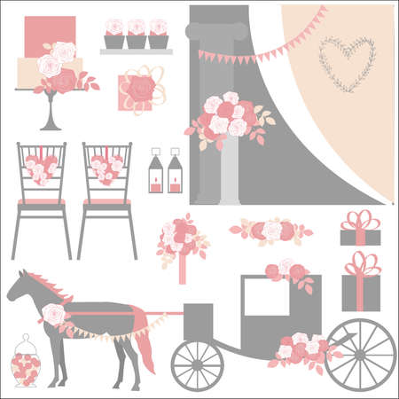 Wedding carriage, flowers, cake, decoration for chairs, bridal bouquet. Vector illustration. 向量圖像