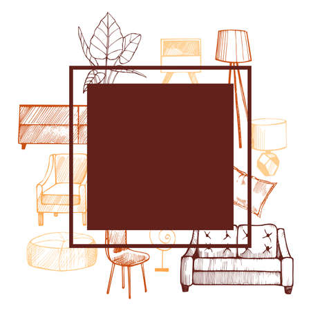Furniture, lamps and plants for the home. Vector frame.