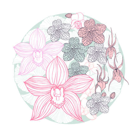 Hand drawn orchids in a circle. Vector sketch illustration