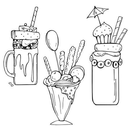 Hand drawn monstershakes. Freak And Crazy Milkshakes. Vector sketch illustration