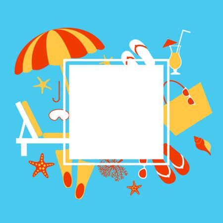 Summer vacation. Beach umbrella, starfish, flip flops, sunglasses. Vector illustration