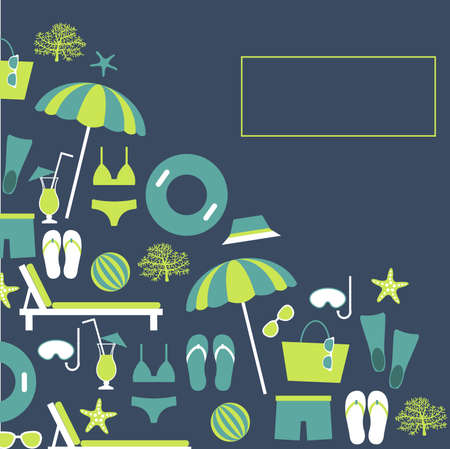 Summer vacation. Beach umbrella, starfish, flip flops, sunglasses. Vector background