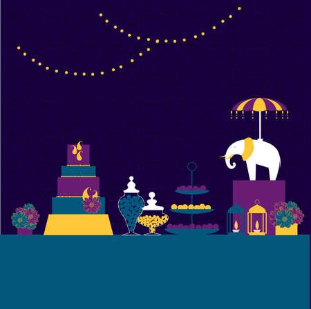Wedding candy bar with elephant. Dessert table. Vector illustration.