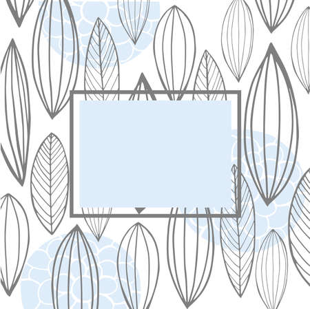 Vector floral frame with hand-drawn leaves