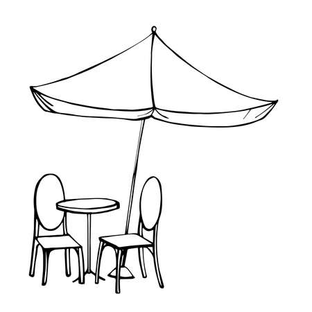 Table and chairs under sun umbrella. Vector sketch illustration