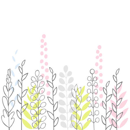 Vector floral background with doodle plants.