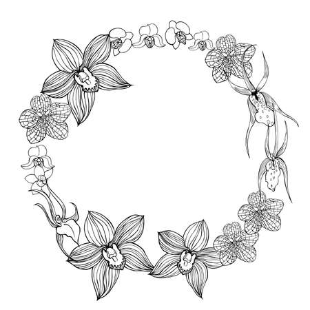 Floral wreath with hand drawn orchids. Vector sketch illustration