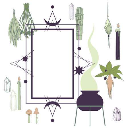 Vector frame with witchcraft things. Herbs, crystals, candles, mushrooms. 向量圖像