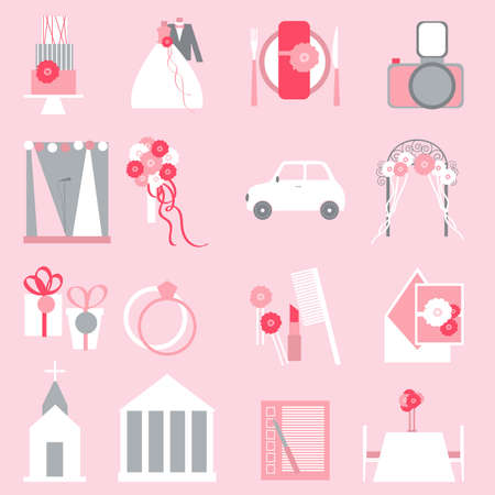 Wedding icons on pink background. Vector illustration.