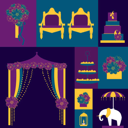 Indian wedding. Wedding arch with flowers, cake, bridal bouquet. Vector illustration. 向量圖像