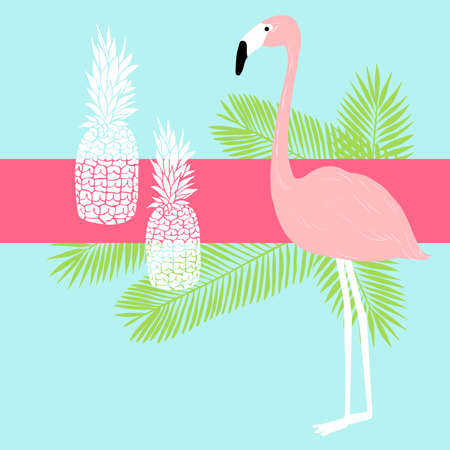 Vector background with flamingos and pineapple.