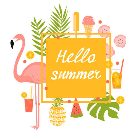 Summer vector frame with flamingos, ice cream and flowers