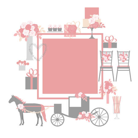 Wedding carriage, flowers, cake, decoration for chairs, bridal bouquet. Vector frame 向量圖像