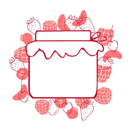Vector background with hand-drawn jam jar and berries.