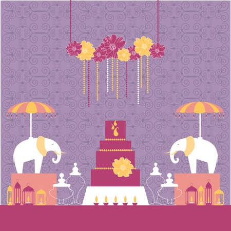 Wedding candy bar with elephants .. Dessert table. Vector illustration. 向量圖像