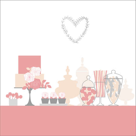 Wedding candy bar with cake and flowers. Dessert table. Vector illustration.