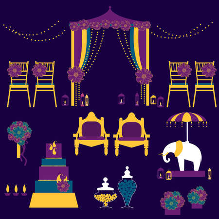 Indian wedding.Wedding arch with flowers, cake, decoration for chairs, bridal bouquet. Vector illustration.