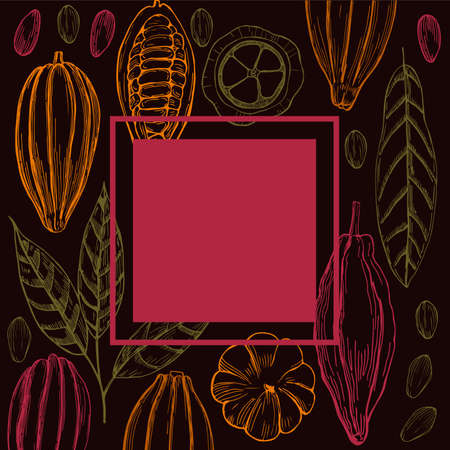 Vector frame with hand-drawn cocoa beans.